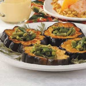 Squash Rings with Green Beans