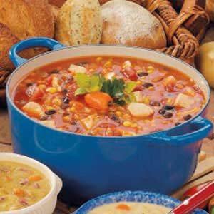 Southwestern Chicken Barley Soup