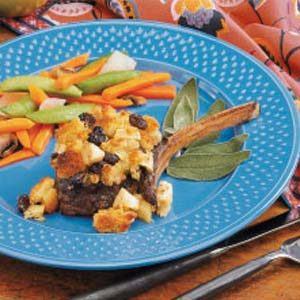 Stuffing-Topped Venison Chops