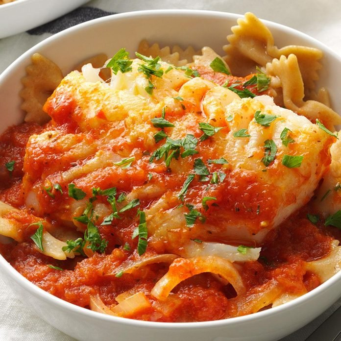 Cod with Hearty Tomato Sauce