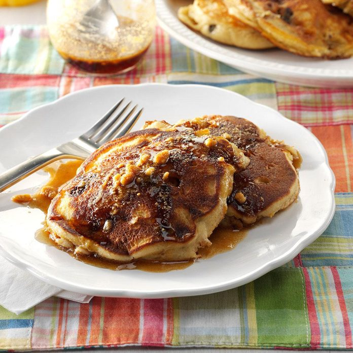 Campfire Pancakes with Peanut Maple Syrup