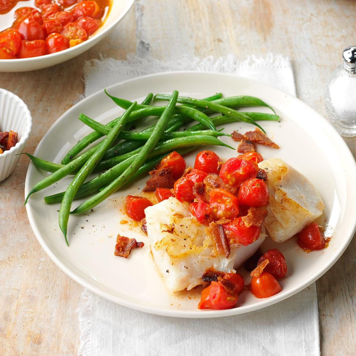 Day 9: Cod with Bacon & Balsamic Tomatoes