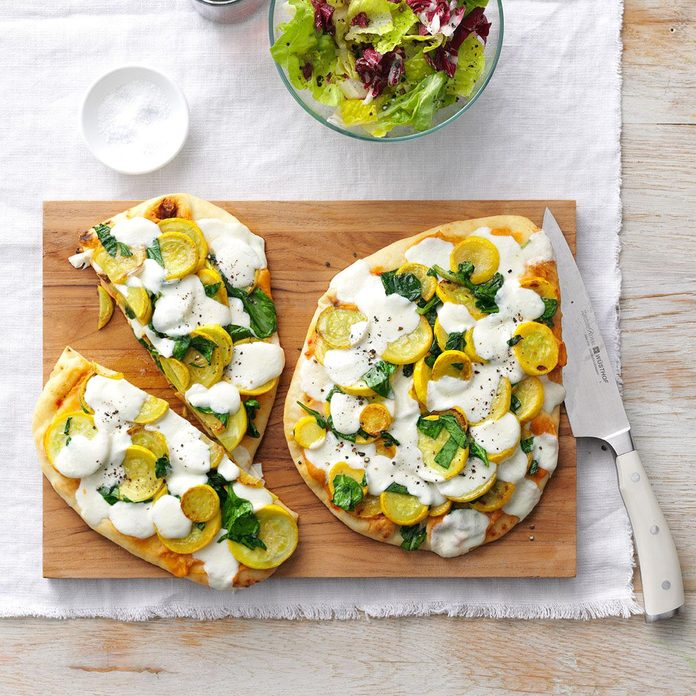 Cheesy Summer Squash Flatbreads