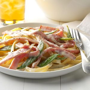 Ham and Pea Pasta Alfredo