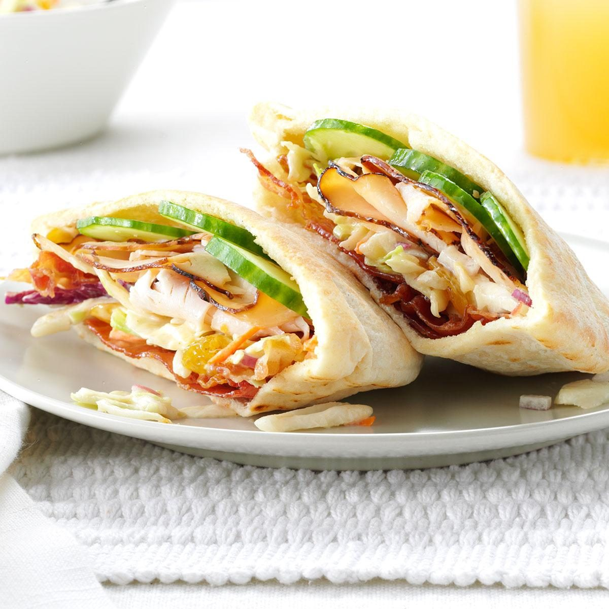 Turkey Pitas with Creamy Slaw