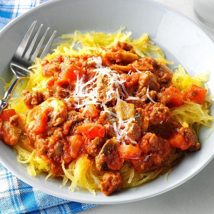 Garlic Spaghetti Squash with Meat Sauce and Tomato