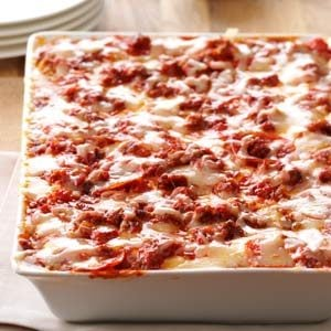 Sausage & Pepperoni Pizza Lasagna