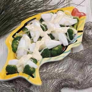 Poached Perch with Broccoli