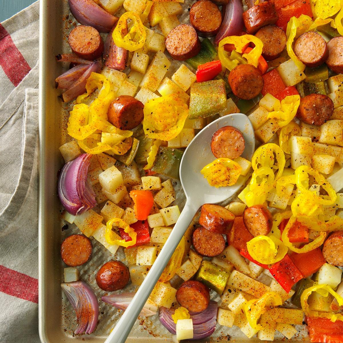 Thursday: Spicy Roasted Sausage, Potatoes and Peppers
