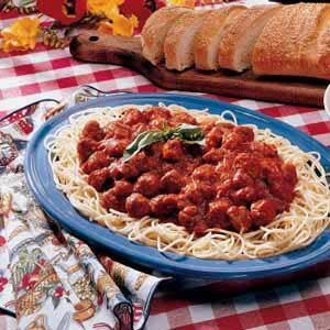Spaghetti with Homemade Turkey Sausage