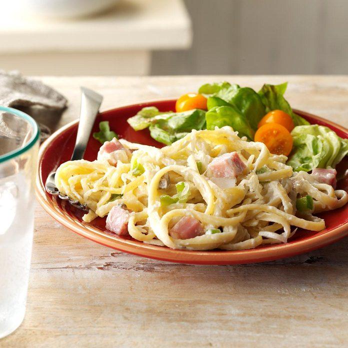 Linguine with Ham & Swiss Cheese