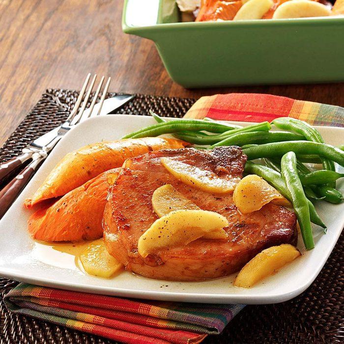 Smoked Pork Chops with Sweet Potatoes