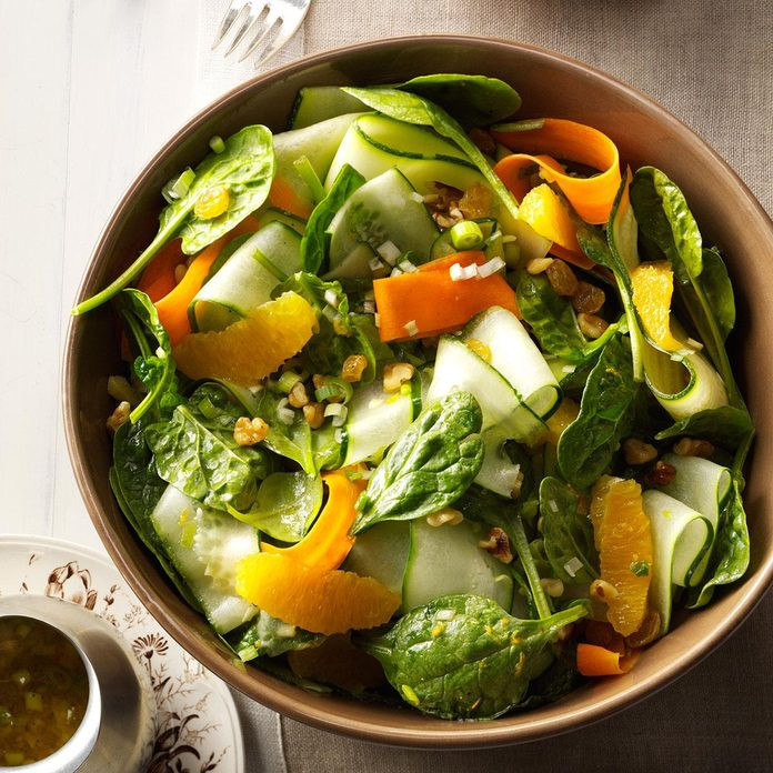 Ribbon Salad with Orange Vinaigrette and Spinach