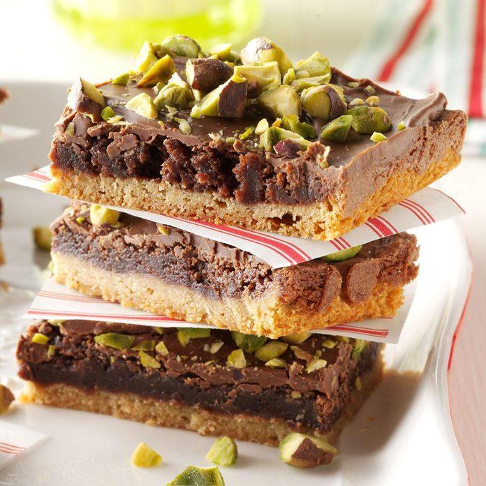 Pistachio Brownie Toffee Bars