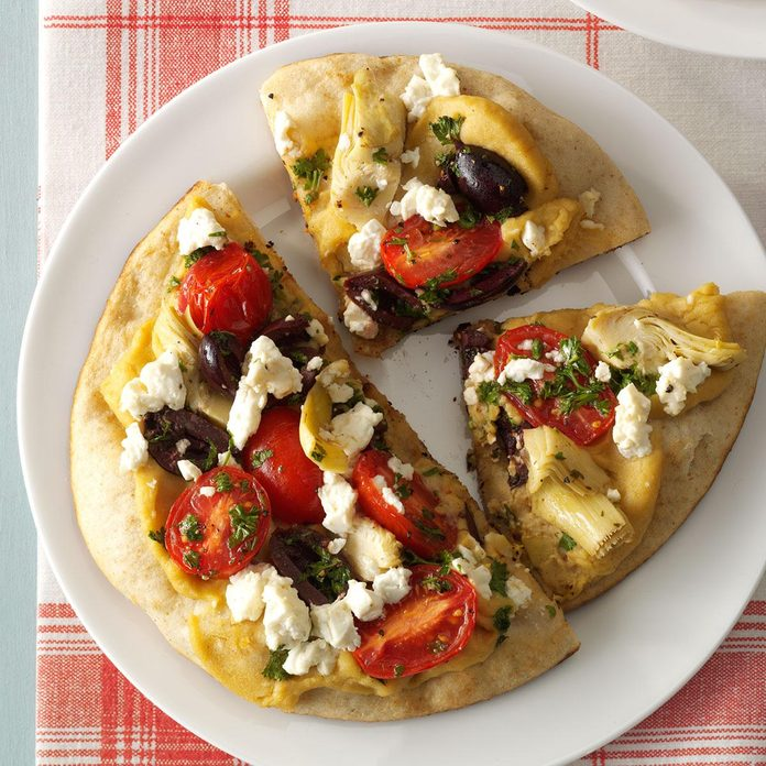 Day 4: Grilled Greek Pita Pizzas