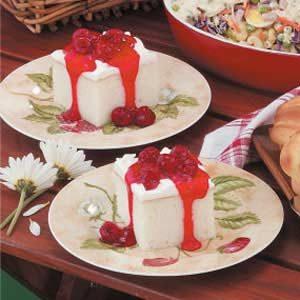 White Cake with Raspberry Sauce