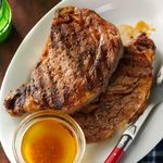 Grilled Ribeyes with Browned Garlic Butter
