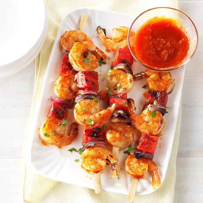 Spicy Shrimp & Watermelon Kabobs