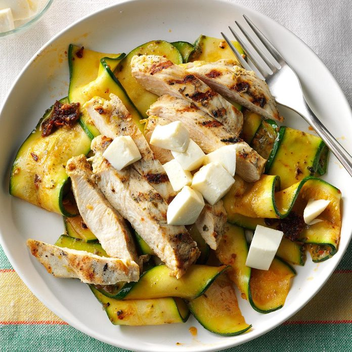 Garlic-Grilled Chicken with Pesto Zucchini Ribbons