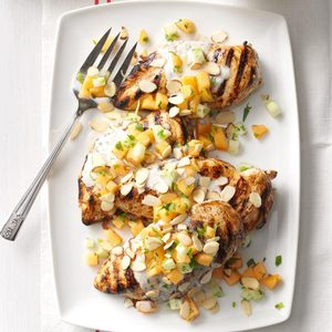 Tandoori-Style Chicken with Cucumber Melon Relish