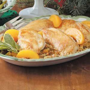 Peach Chicken with Stuffing