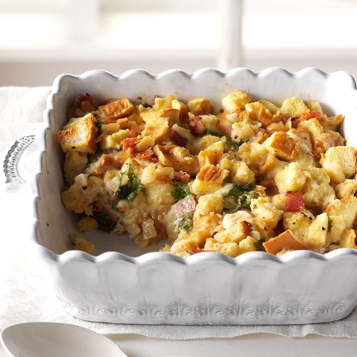 Caramelized Onion, Bacon and Kale Strata