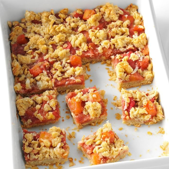 Coconut-Pineapple Rhubarb Bars
