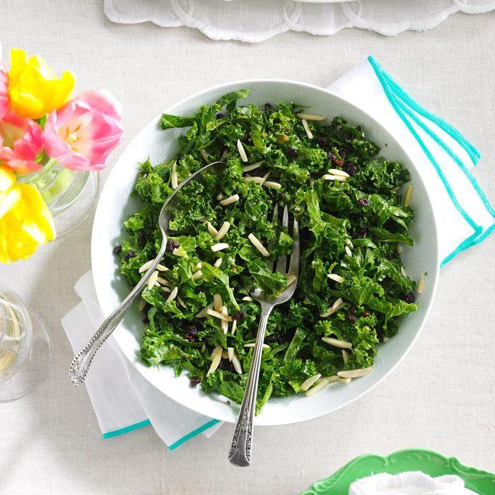 Honey Kale Currant & Almond Salad