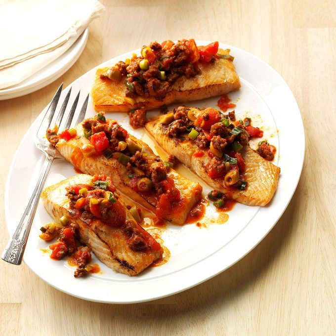 Grilled Salmon with Chorizo-Olive Sauce