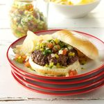 Burgers with Spicy Dill Salsa