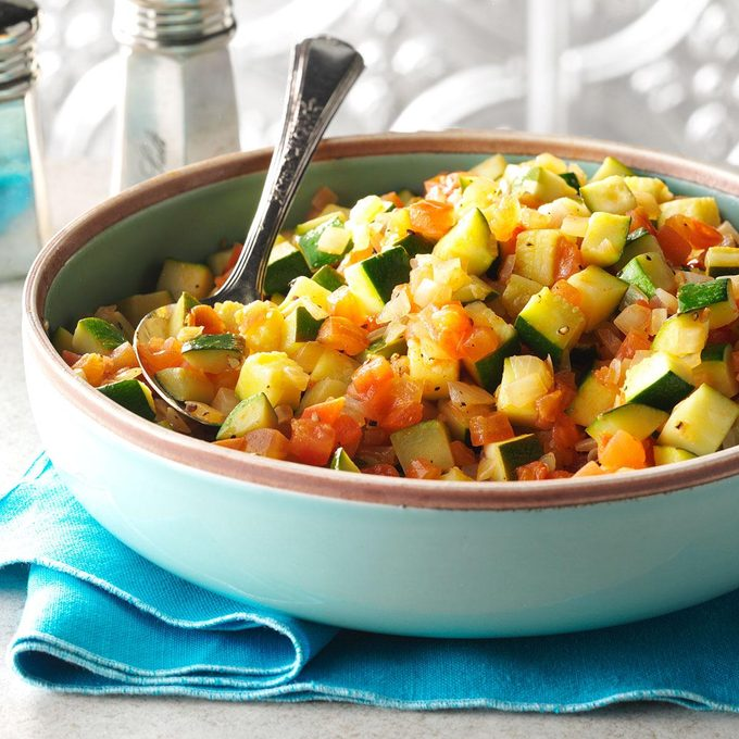 Sauteed Squash with Tomatoes & Onions