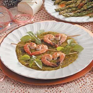 Shrimp with Basil-Mango Sauce