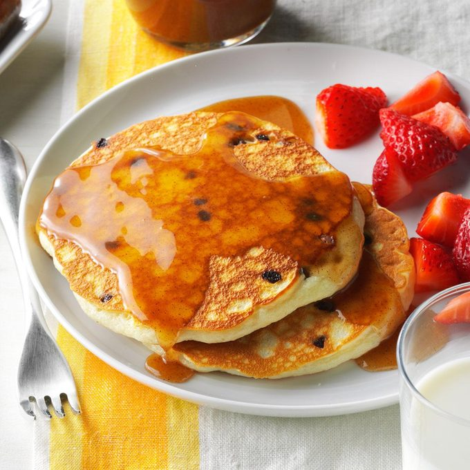 Chocolate Chip Pancakes with Cinnamon Honey Syrup