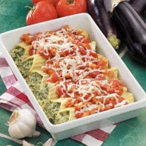 Manicotti with Eggplant Sauce