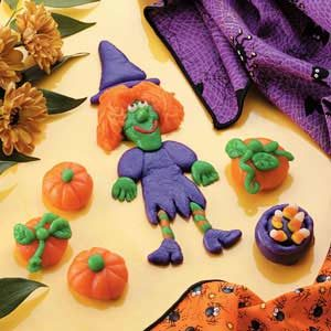 Marzipan Witch, Pumpkins and Cauldron