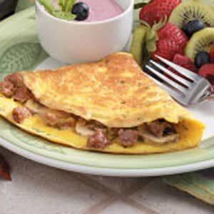 Mushroom Sausage Omelets