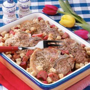 Rhubarb Pork Chop Bake