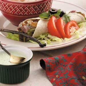 Beef Fajitas with Cilantro Sauce