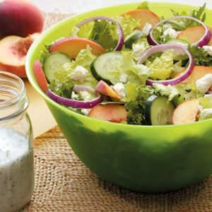 Peachy Tossed Salad with Poppy Seed Dressing