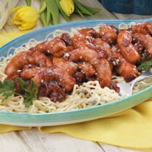 Barbecue Shrimp Over Pasta