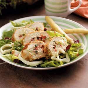 Basil Chicken over Greens