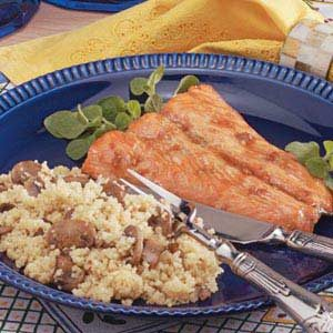 Maple Salmon with Mushroom Couscous