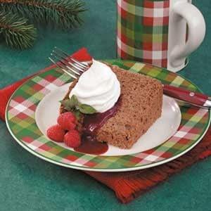 Chocolate Angel Food Cake with Raspberry Sauce