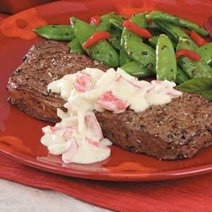 Steaks with Crab Sauce