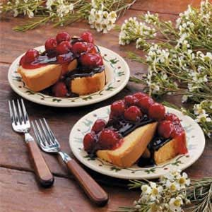 Pound Cake with Cherry Chocolate Topping
