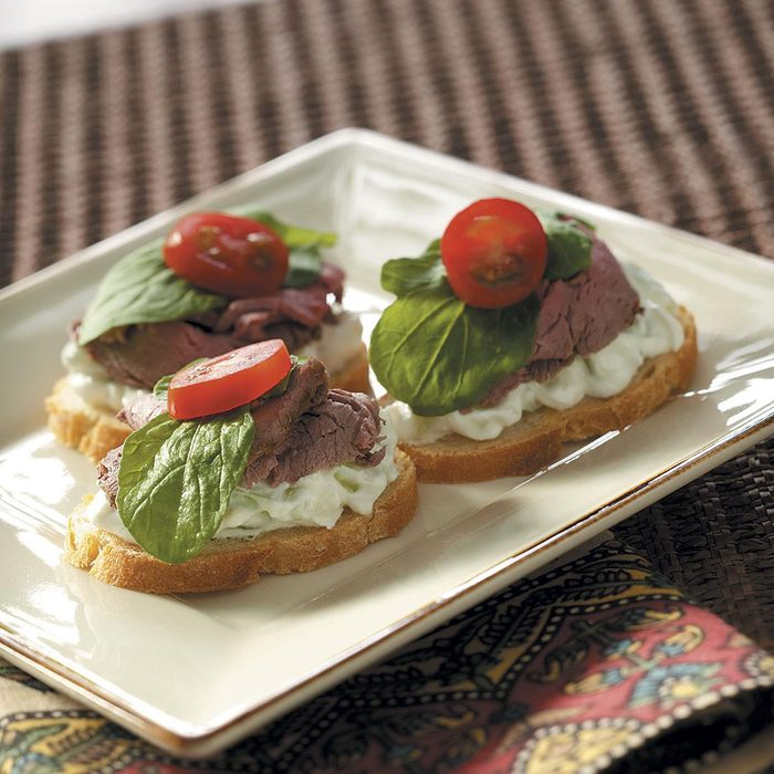 Beef Canapes with Cucumber Sauce