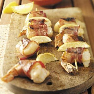 Bacon-Wrapped Seafood Skewers