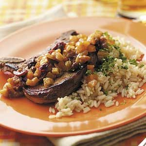 Fruit-Topped Pork Chops and Rice