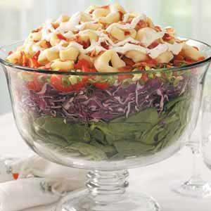 Layered Tortellini-Spinach Salad