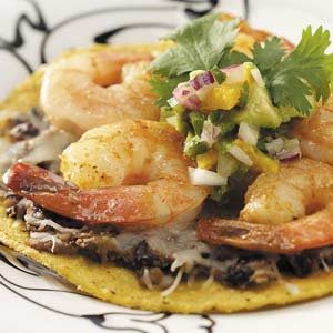 Shrimp Tostadas with Avocado Salsa